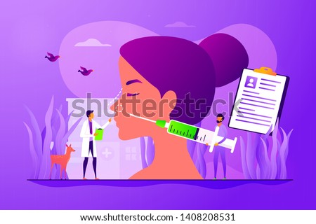 Woman flat vector character making nasal reconstruction surgery. Beauty industry. Rhinoplasty, nose correction procedure, surgical rhinoplasty concept. Vector isolated concept creative illustration