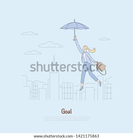 Woman floating on umbrella over city, getting inspired to achieve success, personal growth, achievements, self development work banner