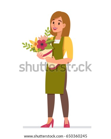 woman florist with bouquet of