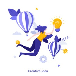 Woman flying or floating in air and touching glowing light bulb. Concept of creativity, creative, innovative and inspiring idea for business, breakthrough. Flat cartoon colorful vector illustration.