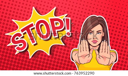woman gesturing no or stop sign ...