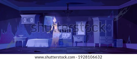 woman ghost in old bedroom at