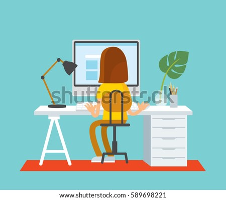 Woman girl freelancer working telecommuting with laptop siting at workplace teleworking. Telework mobile remote work working from home, WFH, flexible workplace. Vector illustration