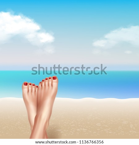Woman girl legs feet on summer sea ocean water beach and sky. Vector realistic vacation and holidays illustration isolated background