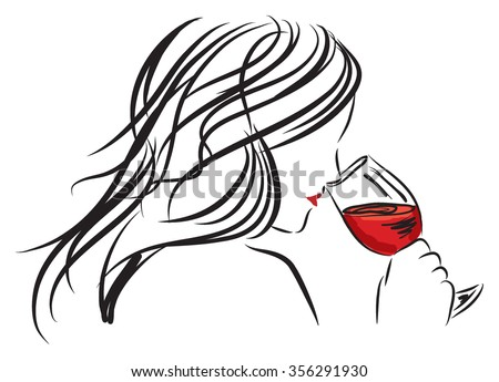 woman girl smelling a wine