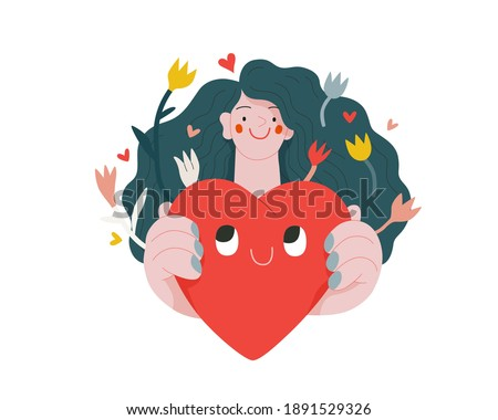 Woman giving a heart - Valentines day graphics. Modern flat vector concept illustration - a young woman holding the big heart. Hearts and flowers. Cute characters in love concept
