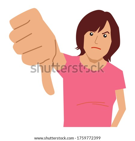 Woman giving big thumbs down disappointment. Vector flat illustration Foto stock ©