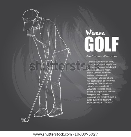 woman golfer illustration on chalkboard. drawing vector style