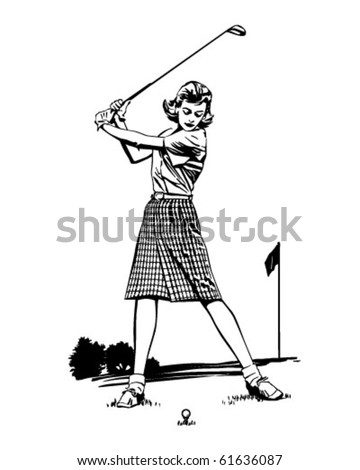 Woman Golfer 2 - Retro Clip Art