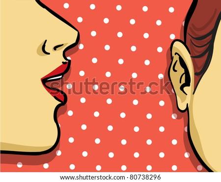 woman gossip retro illustration, polka dots background - stock vector