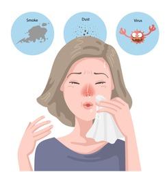 Woman got sick flu. Blowing her nose. Sneezes into napkin. Portrait girl has allergic rhinitis, Has headache,Sickness,Allergic rhinitis. Hay fever. Effects on health, Viruses,Dust,Smoke.Health concept