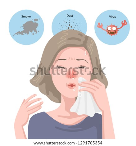 Woman got sick flu. Blowing her nose. Sneezes into napkin. Portrait girl has allergic rhinitis, Has headache,Sickness,Allergic rhinitis. Hay fever. Effects on health, Viruses,Dust,Smoke.Health concept