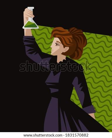 woman great scientific radioactive experiment Photo stock ©