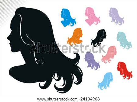 Woman haircut silhouette. Versions of bust with slightly different design and neck position. Easy to customize colors. See the series.