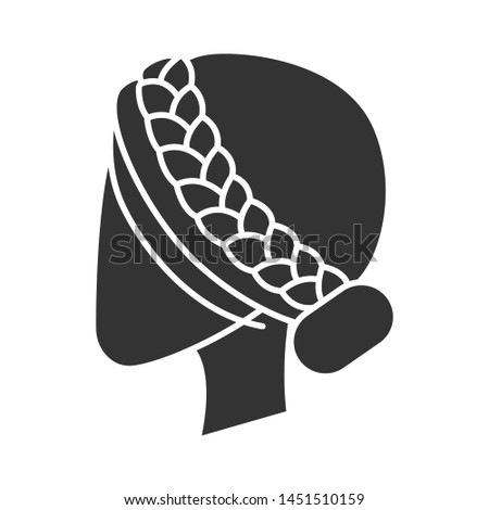 Woman hairstyle glyph icon. Professional hairstyling. Female head with braided hair. Hairdresser services. Barbershop. Hair care. Silhouette symbol. Negative space. Vector isolated illustration