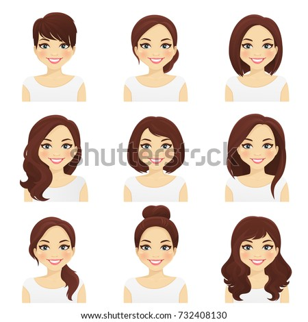 Woman hairstyles set