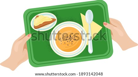 Woman hand hold tray with foodstuff plate kitchen utensils, light breakfast foodstuff flat vector illustration, isolated on white. Concept dinner food dish, canteen edible soup meal. Photo stock ©