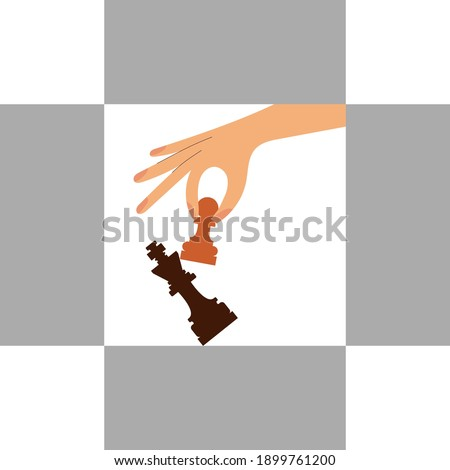 Woman hand holding chess white pawn. During chess game woman use pawn chess piece to crash the opposite team black king figure. Checkmate. Win in chess game. Business strategy success concept. Photo stock ©
