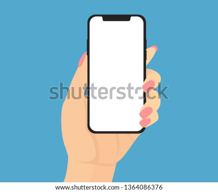 Woman hand holding new smartphone, mobile, cellular phone with blank white screen. Vector flat illustration isolated on blue background.