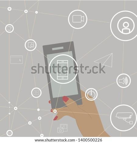 woman hand holding smartphone, flat design mobile app #1400500226