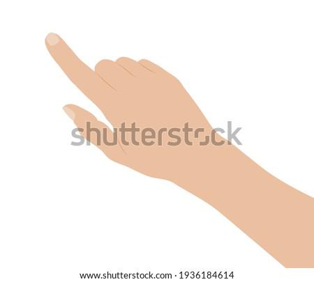 Woman hand on white background, flat design vector illustration Photo stock ©