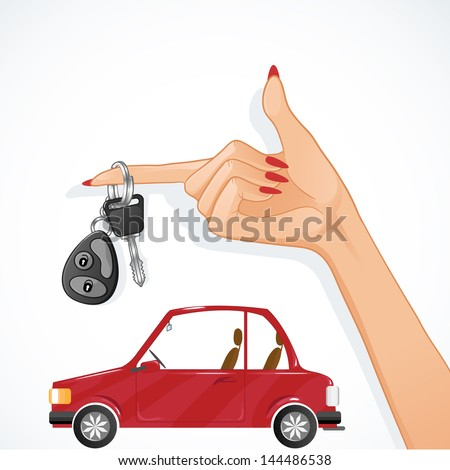 woman hand with auto key and