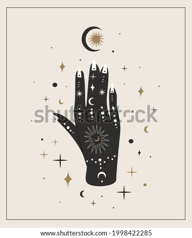 Woman hand with painted mehendi of sun, moon, stars sacred geometry,Alchemy esoteric mystical magic celestial talisman isolated.Spiritual occultism object.Vector isolated illustration in black style Stock photo ©