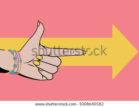 Woman hand with pointing finger. Vector illustration