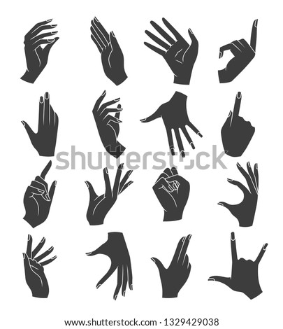 Woman hands gestures silhouettes. Female hand with nails gesture black icons, womans arms vector illustration isolated on white