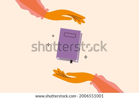 Woman hands holding magic book. Fairy tale story. Elegant girl in a pink blouse reading literature. Read books lover. Education, literacy day concept. Book swap, bookstore, library vector illustration