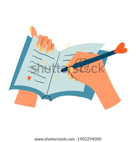 Woman hands with notepad, diary or journal writing thoughts or love letter, to do list, personal plans, goals. Isolated illustration of a pen and a notebook. Self love practice, mental health habits.  Foto stock ©