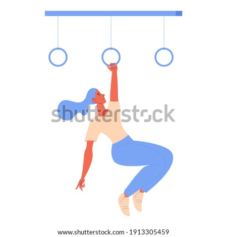 Woman hanging on gymnastic rings during obstacle course racing isolated on white. Healthy lifestyle character ready for sport ストックフォト ©