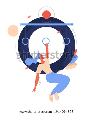 Woman hanging on gymnastics rings and capital letter O on background. Character while obstacle course racing isolated on white background Foto stock ©