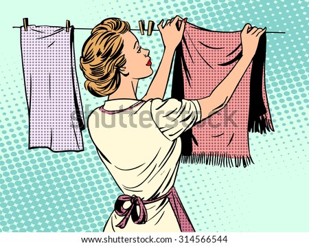 woman hangs clothes after washing housewife housework comfort retro style pop art