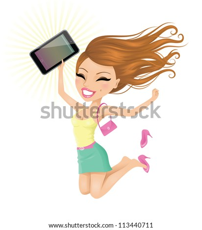 Woman happy with her touch pad.