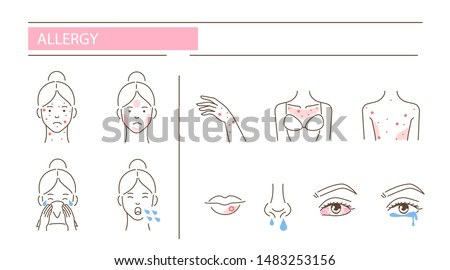 Woman has allergy diseases symptoms - skin rash, cough, snot, conjunctivitis. Set of  icons about dermatitis illness signs. Flat line vector illustration isolated on white background.
