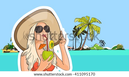 woman hat sunglasses drink