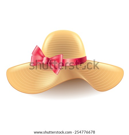 woman hat with bow isolated on