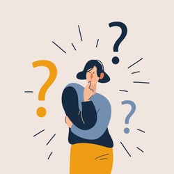Woman have a question. Flat cartoon vector illustration in modern concept.