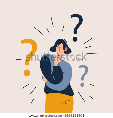 Woman have a question. Flat cartoon vector illustration in modern concept.  Foto d'archivio ©
