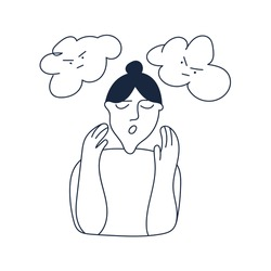 Woman have panic attack. Vector outline illustration on white background.