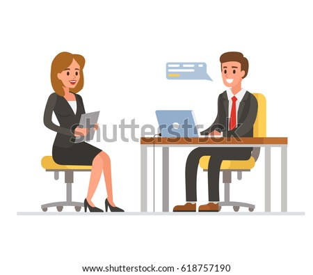 Woman having a job interview with Businessman HR. Flat style vector illustration isolated on white background.