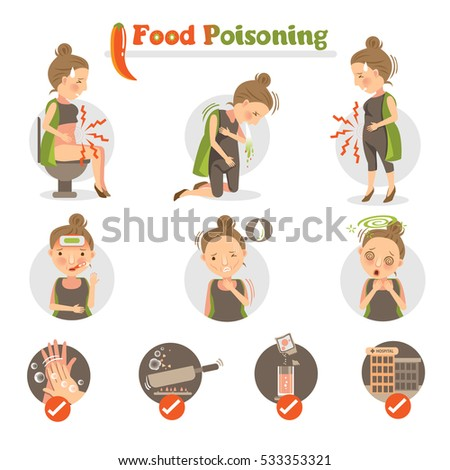 woman having a stomachache.food poisoning. isolated on white background.cartoon Vector illustrations.