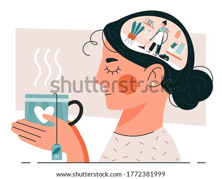Woman having Cleansing Thoughts holding a cup of herbal tea as she meditates with a scene of a housewife vacuuming in her brain, colored vector illustration ストックフォト ©