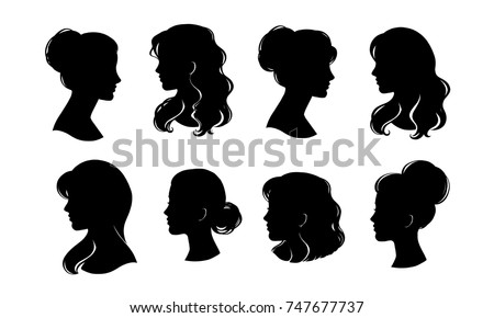 Woman head silhouette, face profile, vignette. Hand drawn vector illustration, isolated on white background. Design for invitation, greeting card, vintage style.