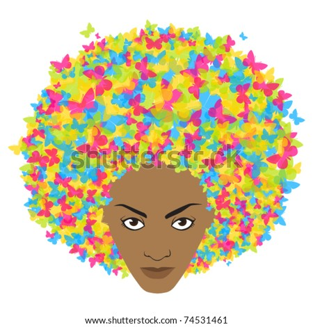 Woman head with butterfly. Vector illustration.