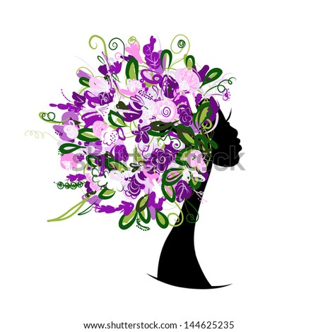 Woman head with floral hairstyle for your design