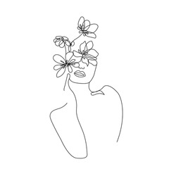 Woman Head with Flowers One Line Drawing. Continuous Line Woman and Flowers. Abstract Contemporary Design Template for Covers, t-Shirt Print, Postcard, Banner etc. Vector EPS 10.
