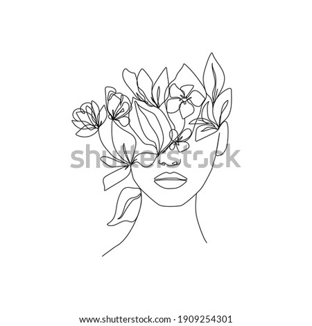woman head with flowers one