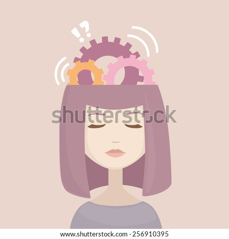 woman head with gears signs